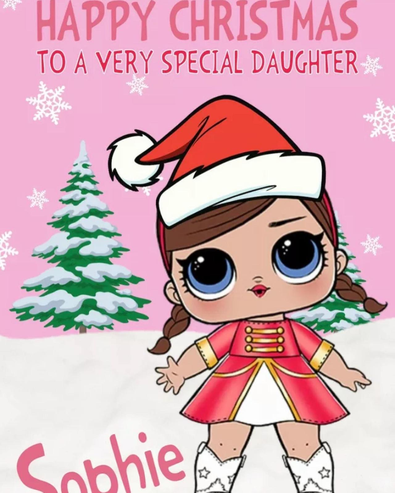 LOL Doll Personalised Christmas Card Red